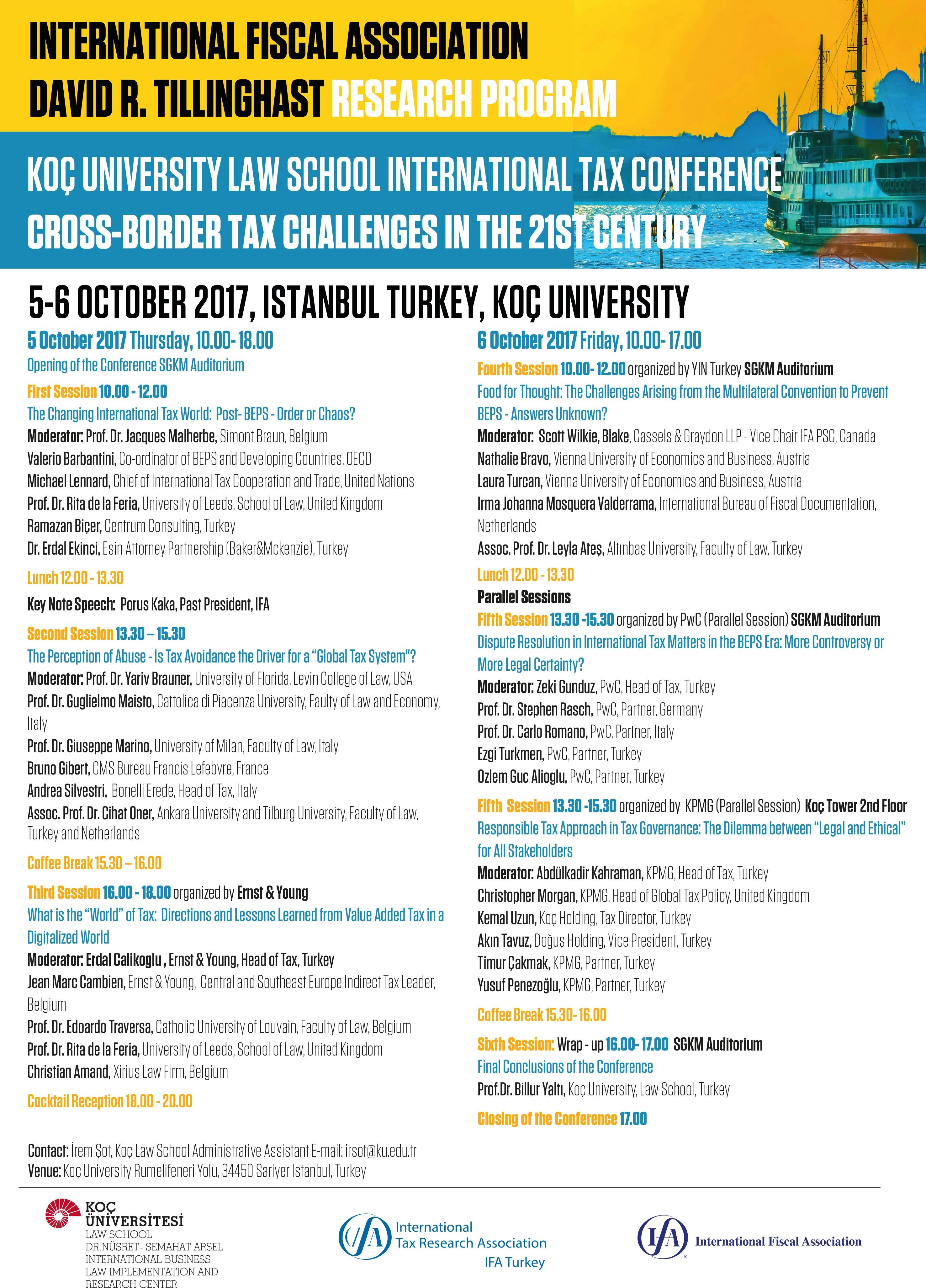 IFA David R. Tillinghast Araştırma Programı Uluslararası Vergi Konferansı